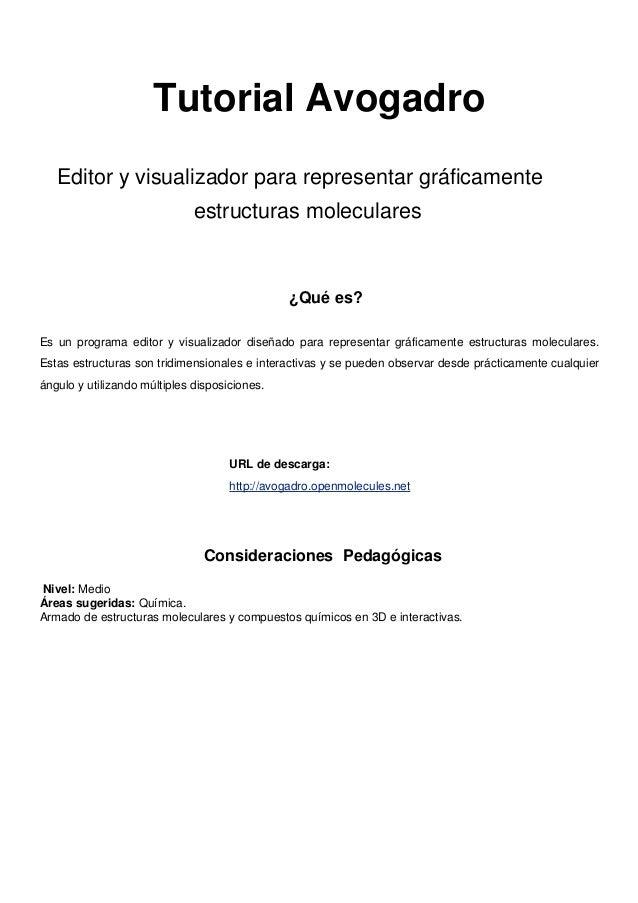 Tutorial Software Avogadro 1. U2039 U203a