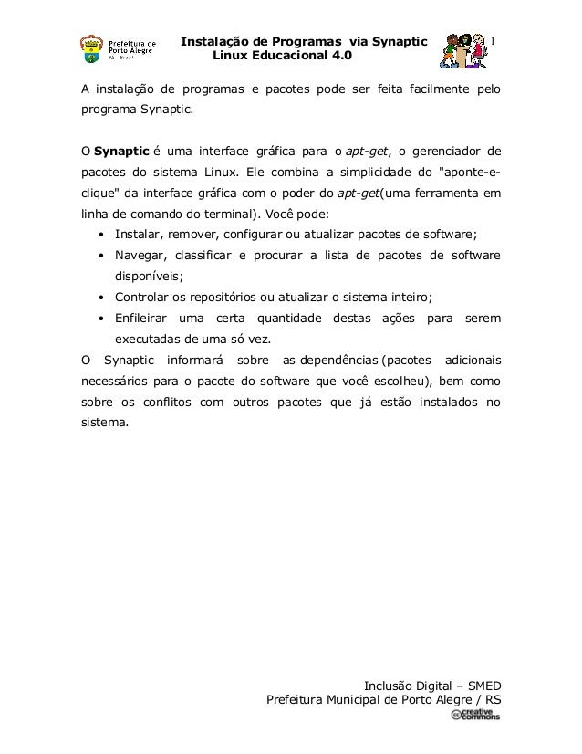 Tutorial Synaptic - Instalação de Programas