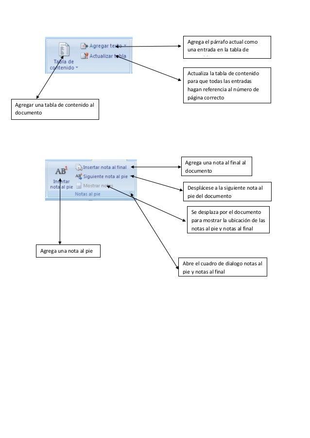 Agregar una tabla de contenido al documento Agrega el párrafo actual como una entrada en la tabla de contenido Actualiza l...