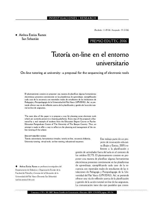 Tutoría On-line en el entorno universitario