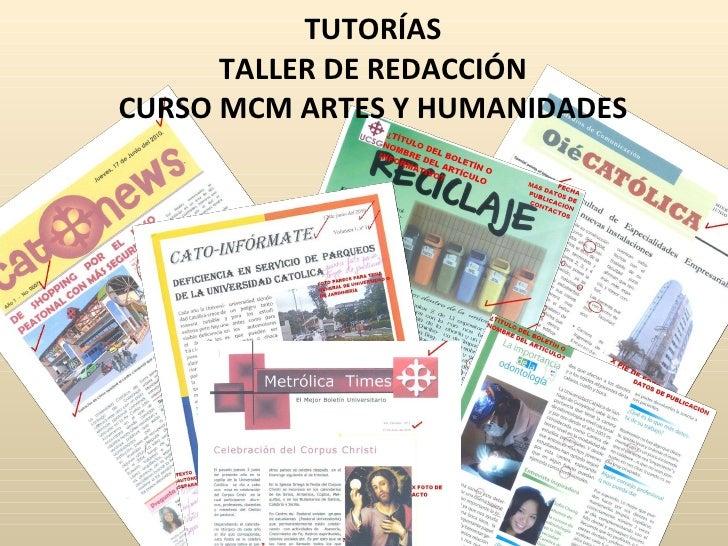 TUTORÍAS TALLER DE REDACCIÓN CURSO MCM ARTES Y HUMANIDADES