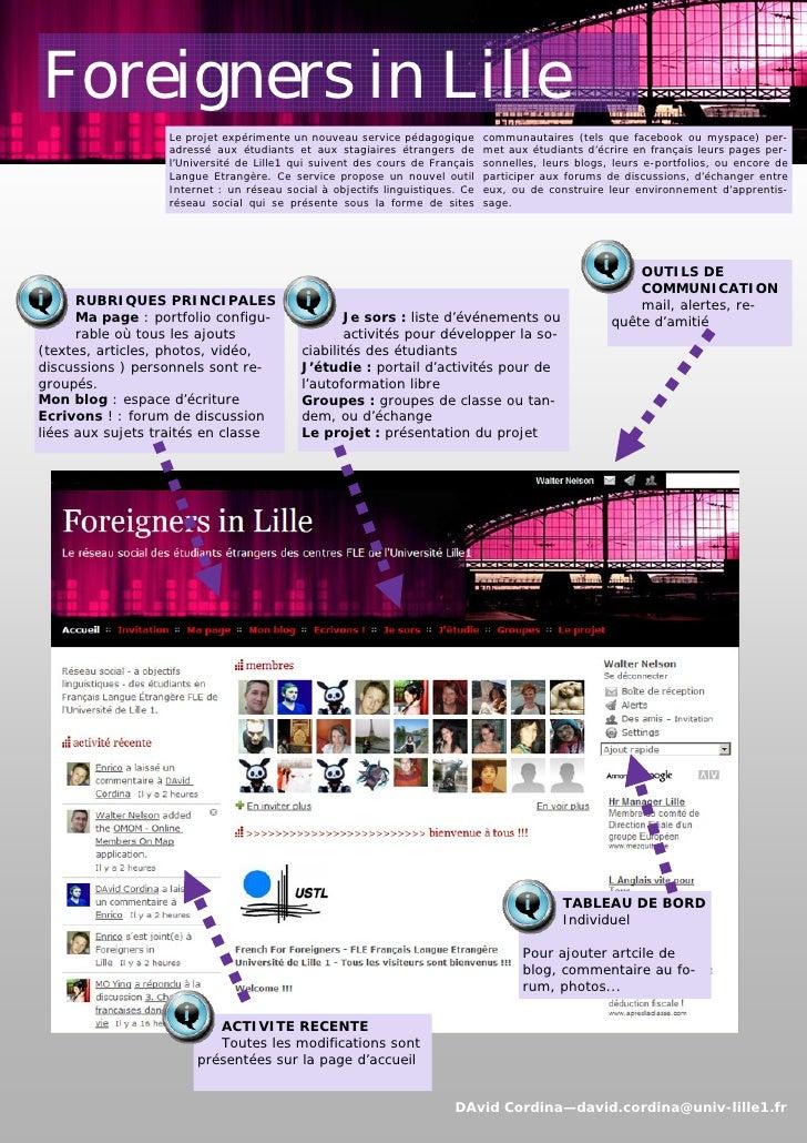 Foreigners in Lille                   Le projet expérimente un nouveau service pédagogique        communautaires (tels que...
