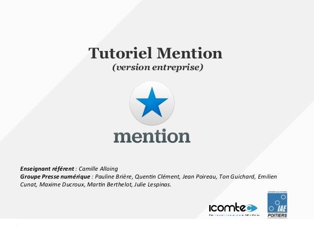 Tutoriel Mention Version Entreprise
