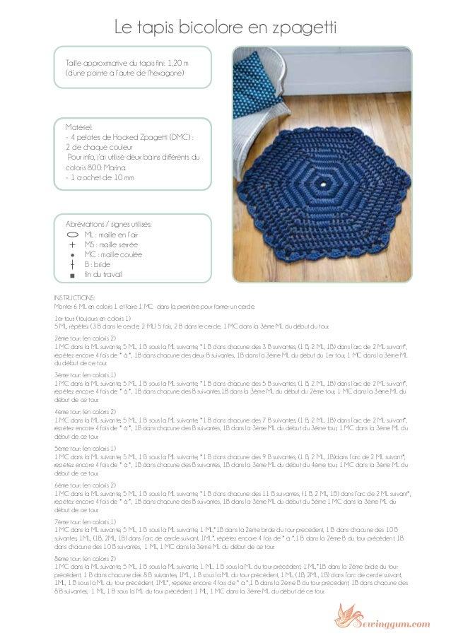 Le tapis bicolore en zpagetti Taille approximative du tapis fini: 1,20 m (d'une pointe à l'autre de l'hexagone) Matériel: ...