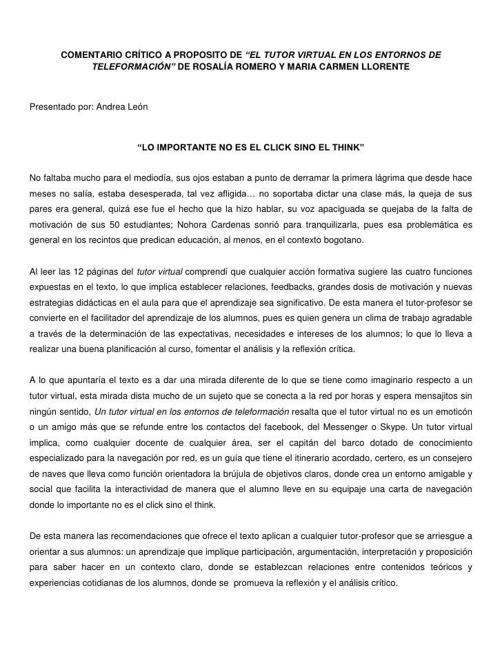 """COMENTARIO CRÍTICO A PROPOSITO DE """"EL TUTOR VIRTUAL EN LOS ENTORNOS DE TELEFORMACIÓN"""" DE ROSALÍA ROMERO Y MARIA CARMEN LLO..."""