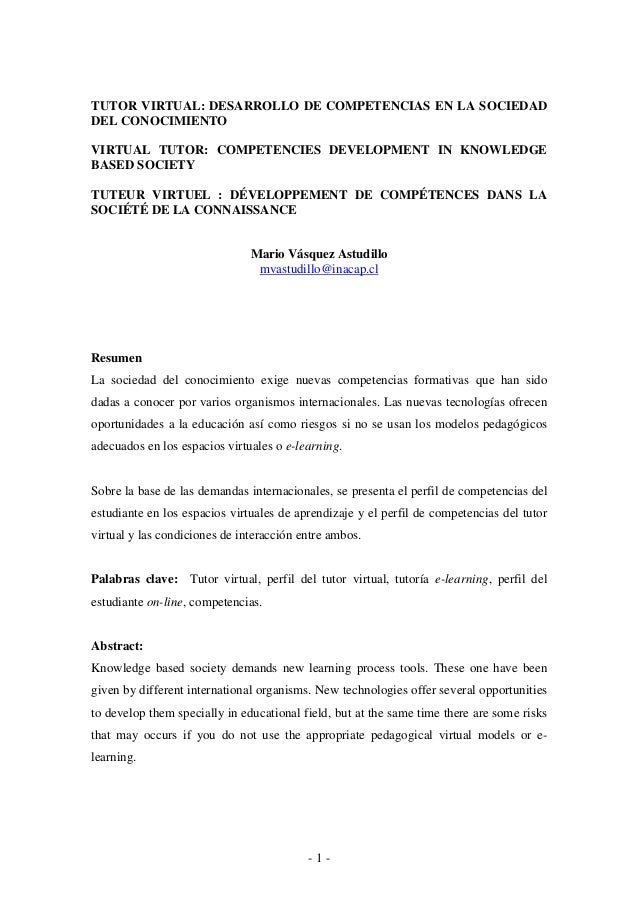 TUTOR VIRTUAL: DESARROLLO DE COMPETENCIAS EN LA SOCIEDADDEL CONOCIMIENTOVIRTUAL TUTOR: COMPETENCIES DEVELOPMENT IN KNOWLED...