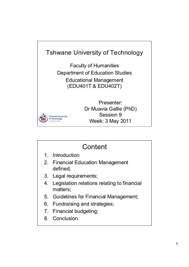 Tshwane University of Technology          Faculty of Humanities      Department of Education Studies         Educational M...
