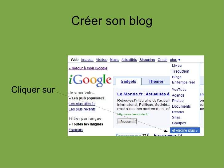 Créer son blogCliquer sur