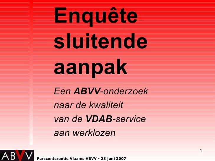 Enquete sluitende aanpak VDAB
