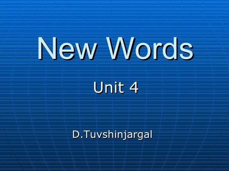 Tuvshoo New Words