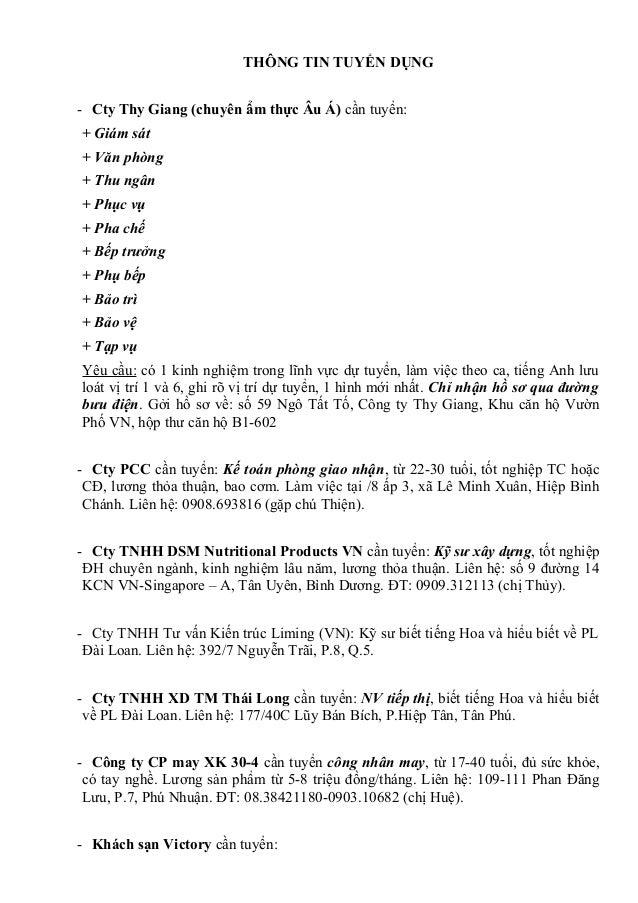 THÔNG TIN TUYỂN DỤNG - Cty Thy Giang (chuyên ẩm thực Âu Á) cần tuyển: + Giám sát + Văn phòng + Thu ngân + Phục vụ + Pha ch...