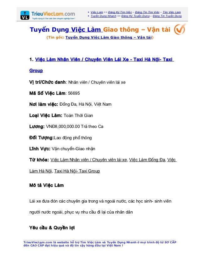 • Việc Làm >> Đăng Ký Tìm Việc – Đăng Tin Tìm Việc – Tìm Việc Làm                                      • Tuyển Dụng Nhanh ...