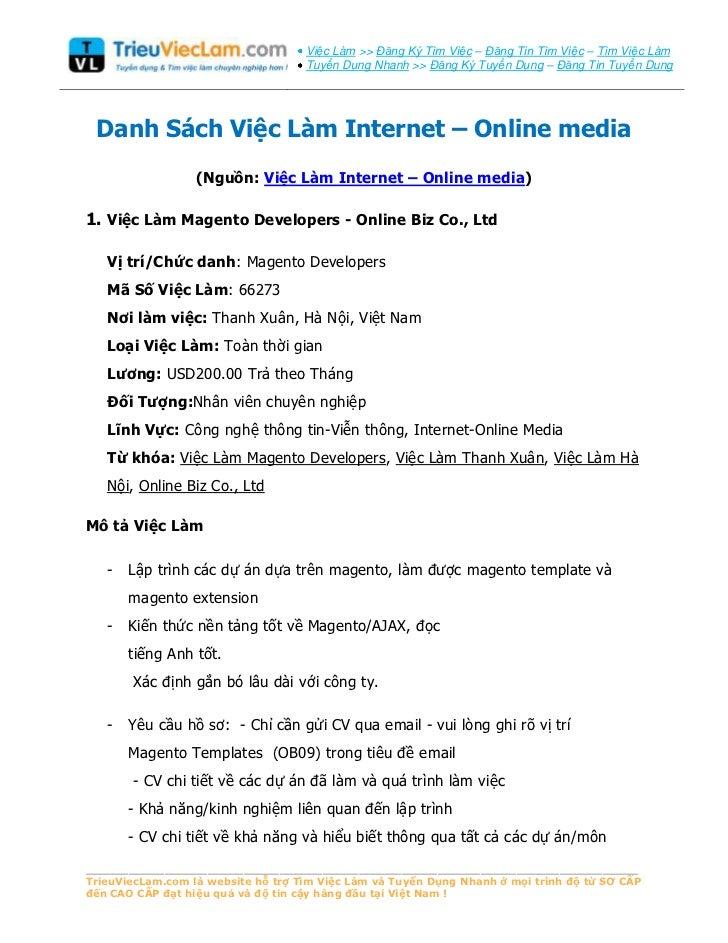 Tuyển Dụng Việc Làm Internet, Online Media