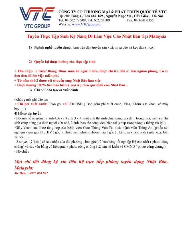 Tuyển Thực Tập Sinh Kỹ Năng Đi Làm Việc Cho Nhật Bản Tại Malaysia 1) Ngành nghề tuyển dụng : làm trên dây truyền sản xuất ...