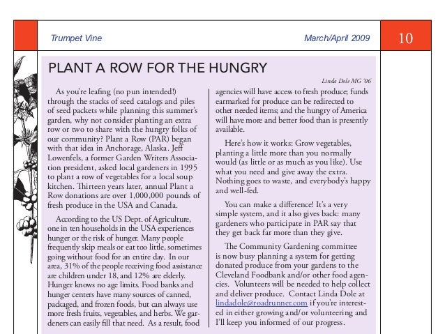 Plant a Row for the Hungry - Master Gardeners, Cuyahoga County, Ohio