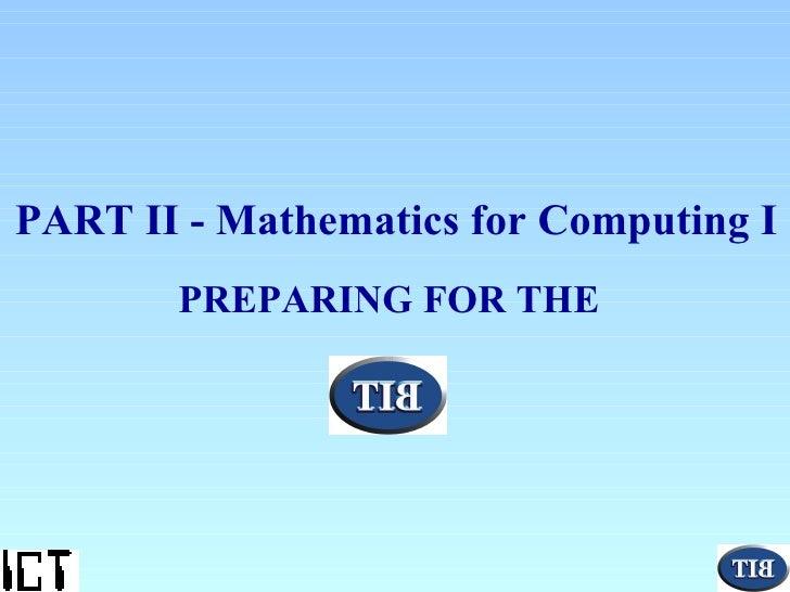 IT1101 Mathematics for Computing II 2001
