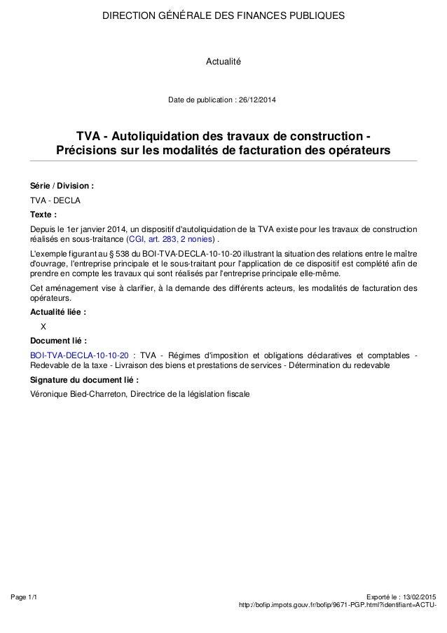 Autoliquidation tva sous traitance for Tva pour la renovation
