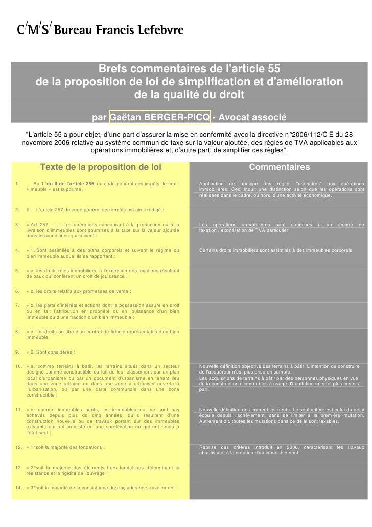 Brefs commentaires de l'article 55           de la proposition de loi de simplification et d'amélioration                 ...