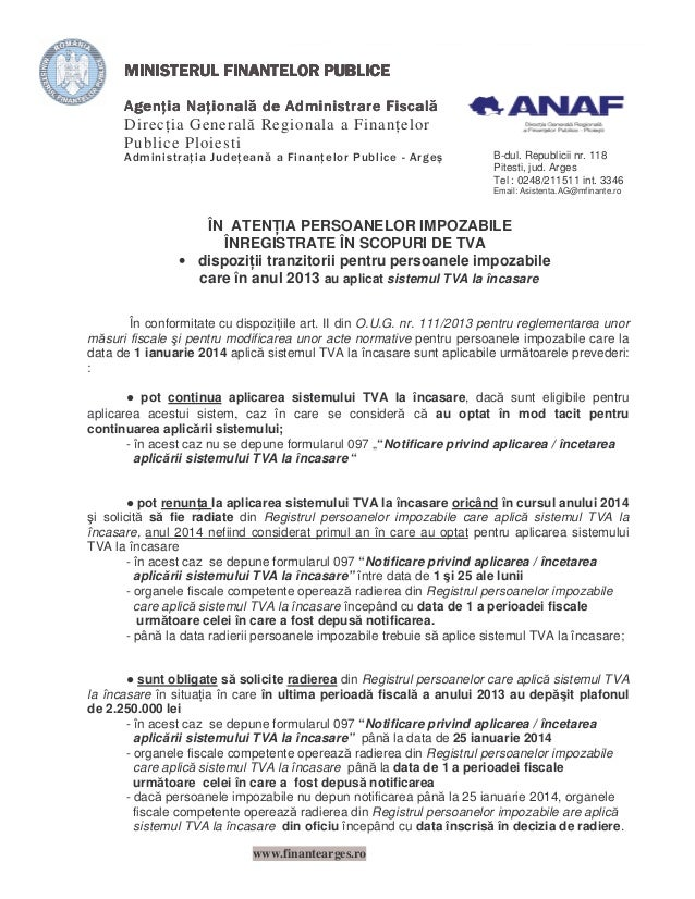Direc ia General Regionala a Finan elor Publice Ploiesti  B-dul. Republicii nr. 118 Pitesti, jud. Arges Tel : 0248/211511 ...