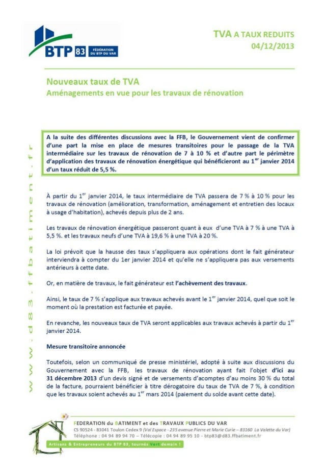 Tva taux reduits 10 %