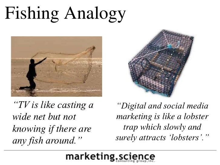 "Fishing Analogy""TV is like casting a   ""Digital and social mediawide net but not        marketing is like a lobsterknowing..."