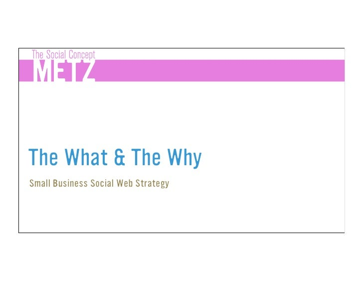 The What & The Why Small Business Social Web Strategy