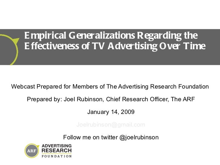 Webcast Prepared for Members of The Advertising Research Foundation  Prepared by: Joel Rubinson, Chief Research Officer, T...