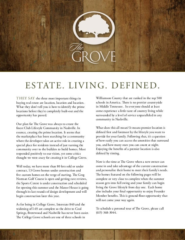 ESTATE. LIVING. DEFINED.They say the three most important things in               Williamson County that are ranked in the...