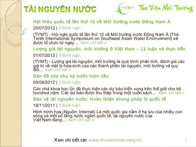 Tài nguyên nước: các bài viết tại TVMT