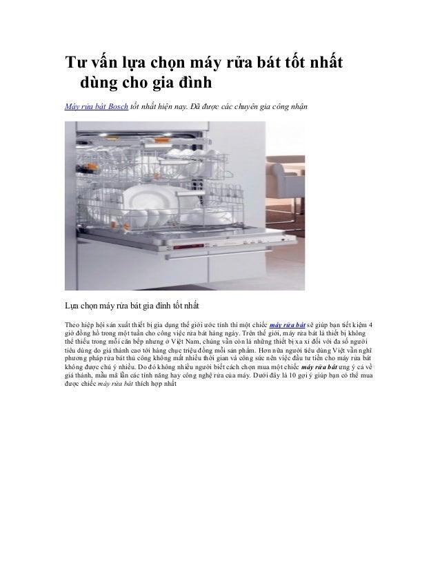 Tư vấn lựa chọn máy rửa bát tốt nhất dùng cho gia đình