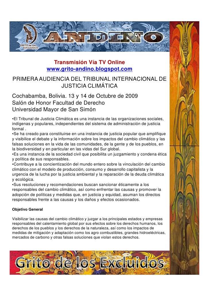 Transmisión Vía TV Online                     www.grito-andino.blogspot.com PRIMERA AUDIENCIA DEL TRIBUNAL INTERNACIONAL D...