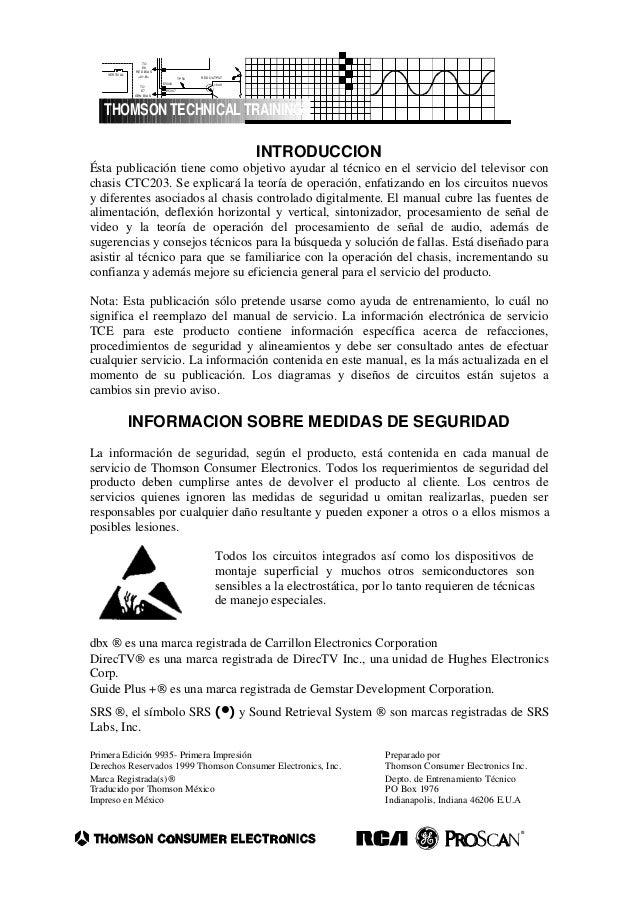 INTRODUCCION Ésta publicación tiene como objetivo ayudar al técnico en el servicio del televisor con chasis CTC203. Se exp...