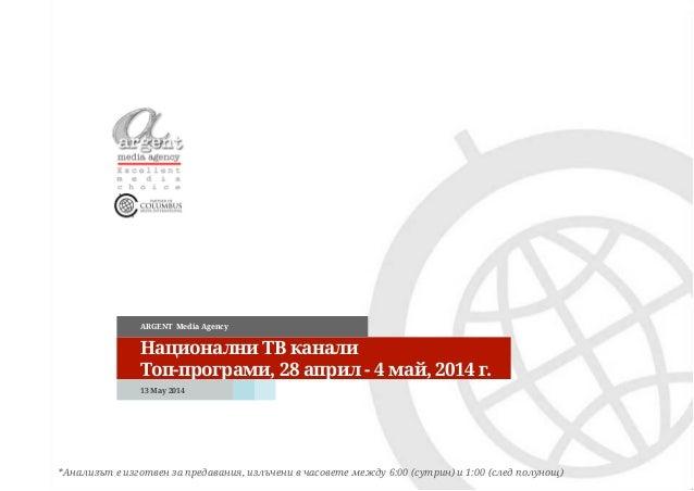 Национални ТВ канали Топ-програми, 28 април - 4 май, 2014 г. ARGENT Media Agency *Анализът е изготвен за предавания, излъч...