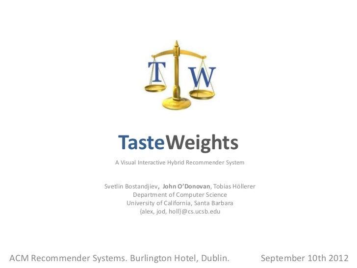 TasteWeights                        A Visual Interactive Hybrid Recommender System                     Svetlin Bostandjiev...