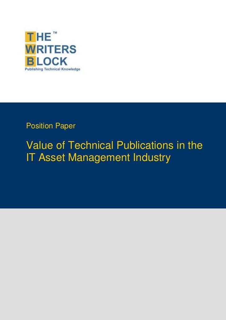TWB Position Paper - IT Asset Management Industry