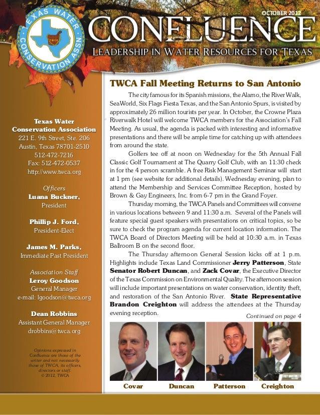 OCTOBER 2012                                    TWCA Fall Meeting Returns to San Antonio                                  ...