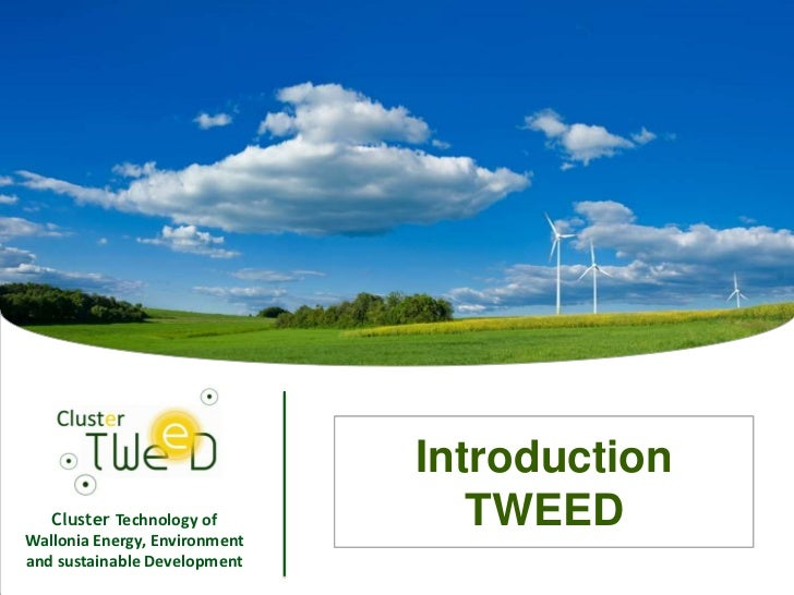 Introduction   Cluster Technology ofWallonia Energy, Environment                                      TWEEDand sustainable...