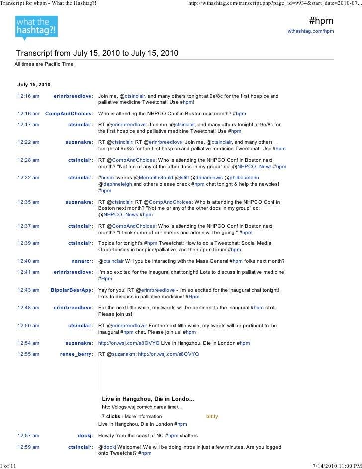 Tweetchat hpm transcript 2010 14 07