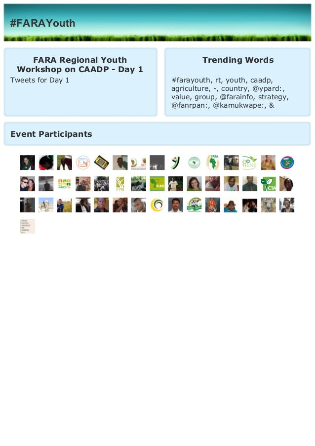 Tweets FARA Regional Youth Workshop on CAADP implementation - Day 1