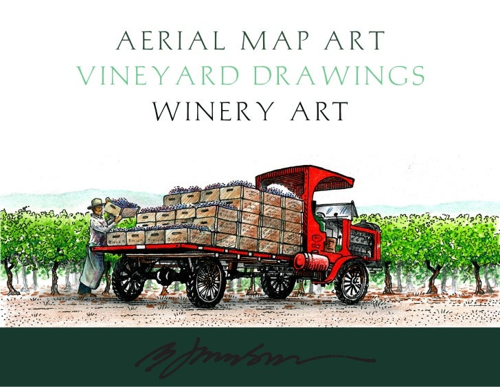 Aerial Map Art Vineyard Drawings    W i n e r y A RT