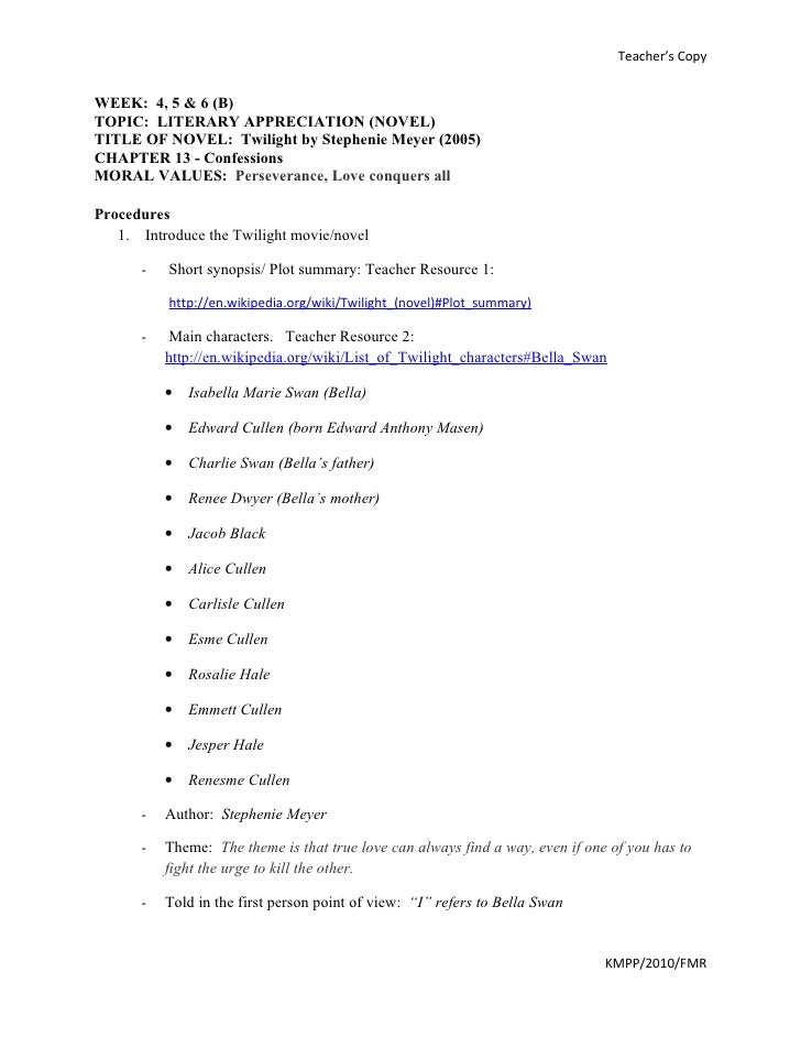 Twilight novel, teachers' worksheet