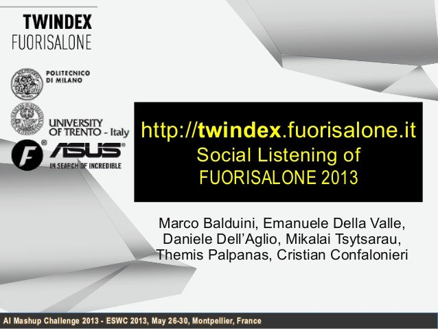 AI Mashup Challenge 2013 - ESWC 2013, May 26-30, Montpellier, Francehttp://twindex.fuorisalone.itSocial Listening ofFUORIS...