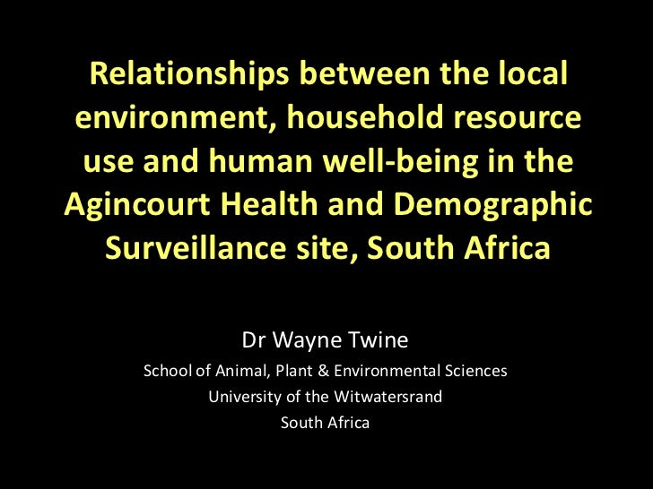 Relationships between the local environment, household resource use and human well-being in the Agincourt Health and Demographic Surveillance site, South Africa