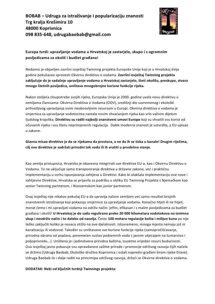 Twinning izvještaj  o gospodarenju vodama u hrvatskoj