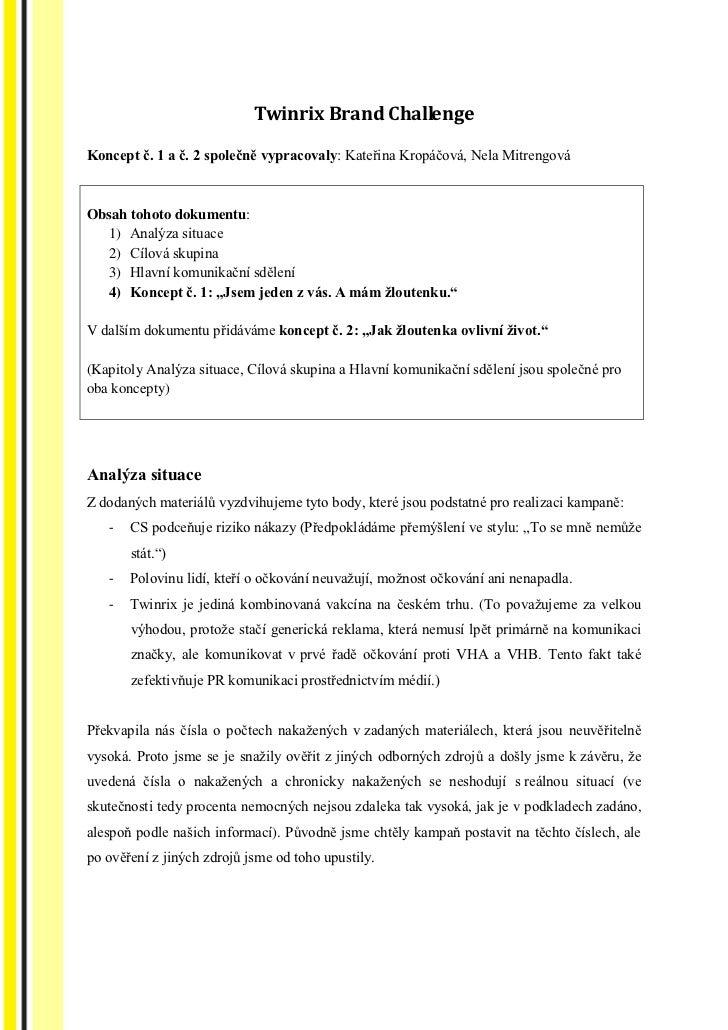 Twinrix Brand Challenge: vítězný návrh komunikační strategie - část 1