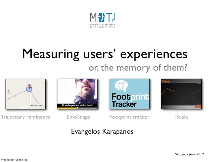 Measuring users' experiences                               or, the memory of them?Trajectory reminders    EmoSnaps    Foot...