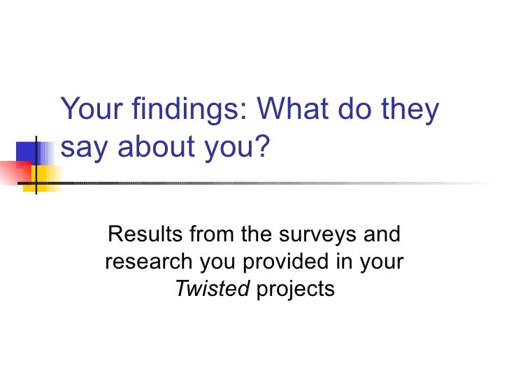 Your findings: What do they say about you? Results from the surveys and research you provided in your  Twisted  projects