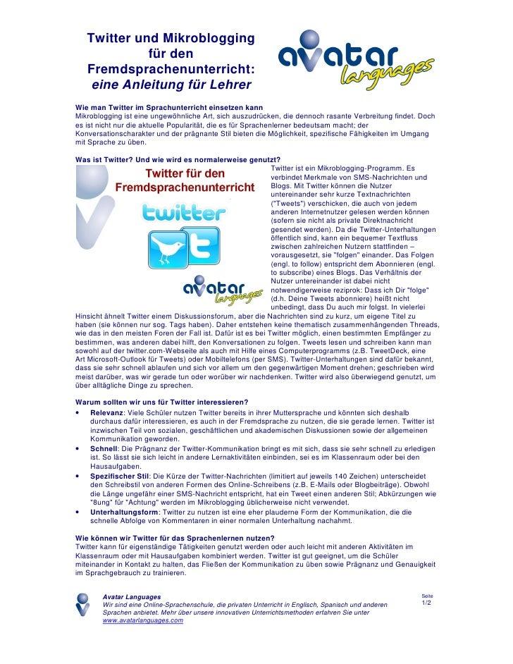 Twitter und Mikroblogging für den Fremdsprachenunterricht