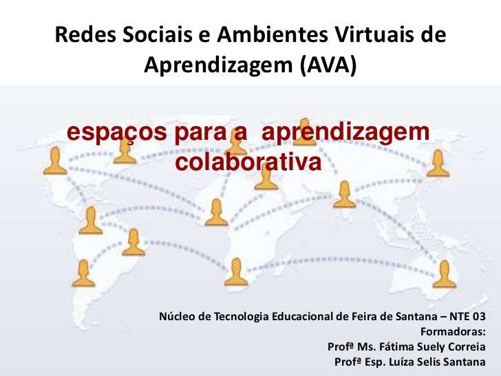 Redes Sociais e Ambientes Virtuais de        Aprendizagem (AVA) espaços para a aprendizagem         colaborativa         N...