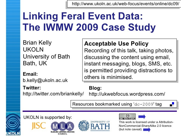 Linking Feral Event Data: IWMW 2009 Case Study